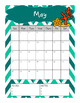 Single Page Monthly Calendar (Mermaid Theme)