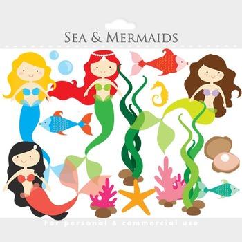 Mermaid clipart - mermaids clip art, little, sea, ocean, f