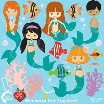 Mermaid Clipart, Mermaids Clip Art, Nautical clipart, AMB-209