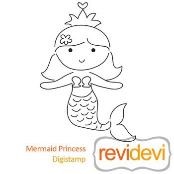 Mermaid princess (digital stamp, coloring image) S038