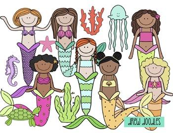 Mermaids Digital Clip Art Set