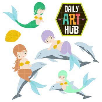 Mermaids and Dolphin Clip Art - Great for Art Class Projects!