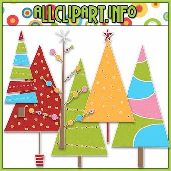 BUNDLED SET - Merry & Bright Trees Clip Art & Digital Stam