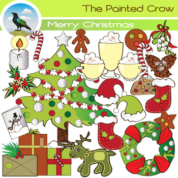Merry Christmas Clip Art - 40 Piece Holiday Set with Color