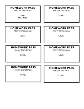 """Merry Christmas"" Holiday Homework Passes - Perfect atop C"