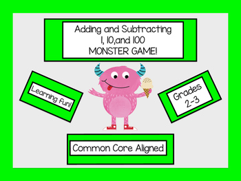 Merry Monsters Game-Adding & Subtracting 1, 10, & 100