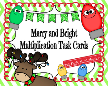 Merry and Bright Multiplication Task Cards (2x2 Digit)