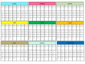 Meses del año calendario (Months of the year calendar in Spanish)