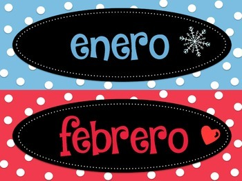 Meses del año labels- Spanish month of the year labels