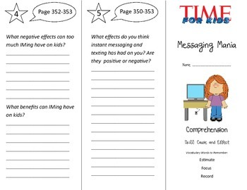 Messaging Mania Trifold - Treasures 3rd Grade Unit 3 Week 3