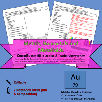 Metals, Nonmetals and Metalloids Cornell Notes #35