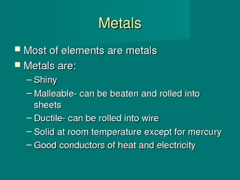Metals Nonmetals and metalloids powerpoint