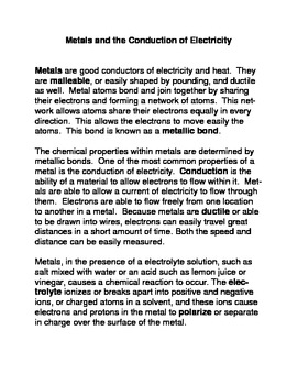 Metals and the Conduction of Electrical Energy Common Core