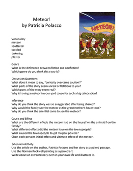 Meteor! by Patricia Polacco - Teaching Literary Skills wit