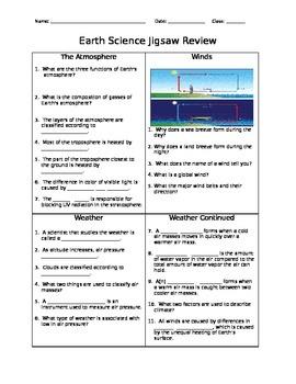 Meteorology - Jigsaw Review - Worksheet