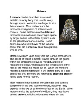 Meteors, Asteroids, and Comets Common Core activity