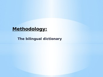 Methodology: how to use the dictionary