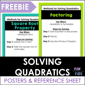 Methods for Solving Quadratics - POSTER & GRAPHIC ORGANIZER