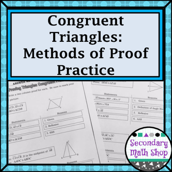 Congruent Triangles - Methods of Proving Triangles Congrue