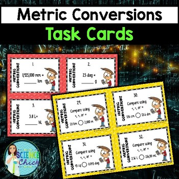 Metric Conversions Task Cards - with or without QR codes