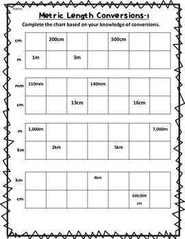 Metric Length Conversion Chart WS