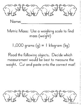 Metric Measurement Cut/Paste- Mass- Math in Focus Chapter
