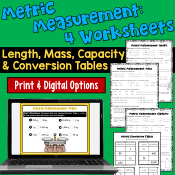 Metric Measurements Worksheets:  Length, Weight, Capacity,