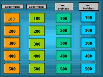 Metric System Jeopardy