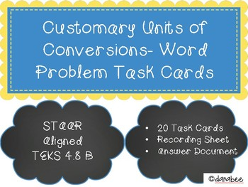 Metric and Customary Units of Conversion Word Problem Task Cards