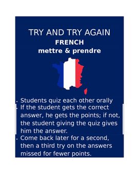 Mettre & prendre FRENCH Try and Try Again
