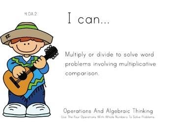 Mexico Theme 4th grade math Common Core Posters fourth Gra
