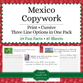 Mexico Unit - Copywork - Cursive - Handwriting