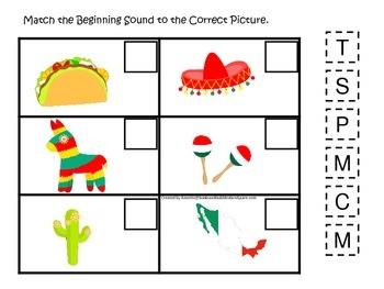 Mexico themed Match the Beginning Sound preschool learning