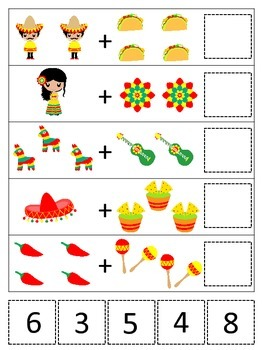 Mexico themed Math Addition preschool learning game.  Dayc