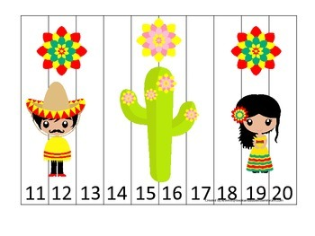 Mexico themed Number Sequence Puzzle 11-20 preschool learn