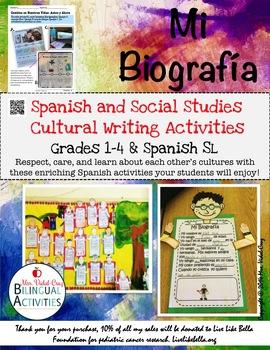 Mi Biografia    A Spanish and Social Studies Writing Activ