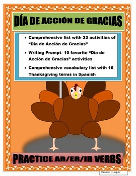 Mi Día de Acción de Gracias- AR/ER/IR Thanksgiving Activit