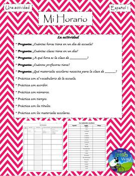 Mi Horario - School Class Schedule - Spanish 1 & 2