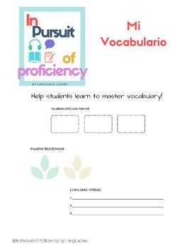 Mi Vocabulario: Unit Vocabulary Worksheet