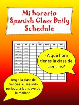 Mi horario My schedule Spanish blank