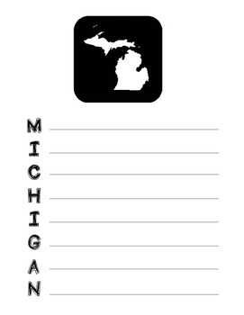 Michigan State Acrostic Poem Template, Project, Activity,