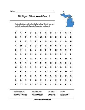 Michigan Cities Word Search (Grades 3-5)