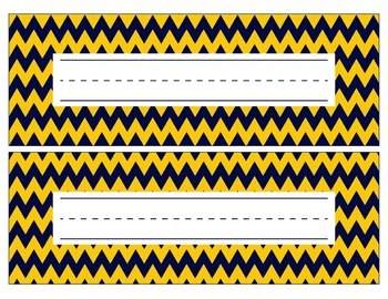 Michigan Inspired Blue and Gold Editable Name Plates/Desk