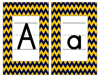 Michigan Inspired Blue and Maize Alphabet & Number Cards f