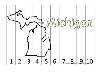 Michigan Number Sequence Puzzle.  Learn the States prescho