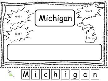 Michigan Read it, Build it, Color it Learn the States pres