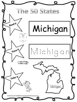 Michigan Read it, Trace it, Color it Learn the States pres