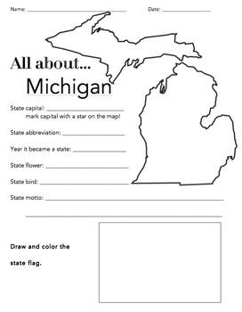 Michigan State Facts Worksheet: Elementary Version