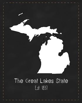 Michigan State Map Class Decor, Government, Geography, Bla