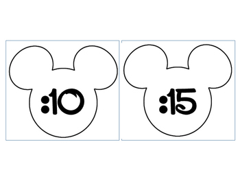 Mickey Clock Numbers Outline